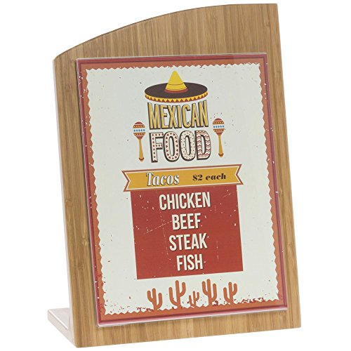 Wooden Chalkboard Sign With Wave Top Bamboo - 10 1/4 L x 4 1/4 W x 14'' H by Hubert
