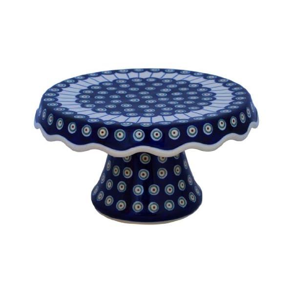 Boleslawiec Pottery Plat à tarte sur pied en céramique de Boleslawiec Motif 8