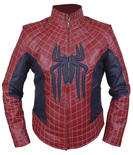 F&H Men's Amazing Spiderman Genuine Leather Jacket XL Maroon by Flesh & Hide