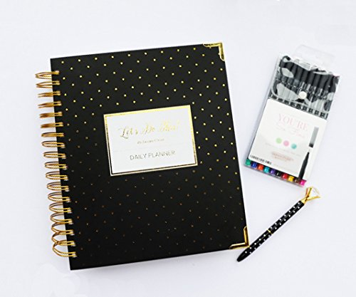 Undated Let's Do This 1 Year Daily Planner Kit with Diamond Pen,10 Fineliner Color Marker Set,Black Agenda Gold Polka Dots in Pink Giving Box, Non Dated,Daily,Hourly,Budget,9 X 9.5 Inch (Black - Calendar Black Dots Polka