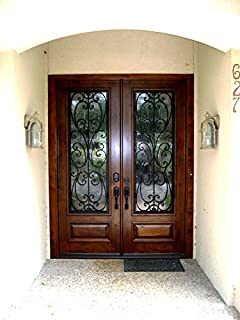 Custom Made Double Exterior Front Entry Double Wooden Glass Door   ITO DOORS