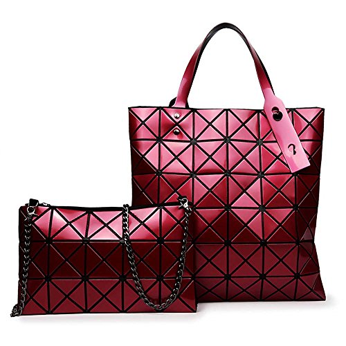 Ruifu Handbag Single Shoulder Wine Red Bag Women Geometric Quilted YTSwYr