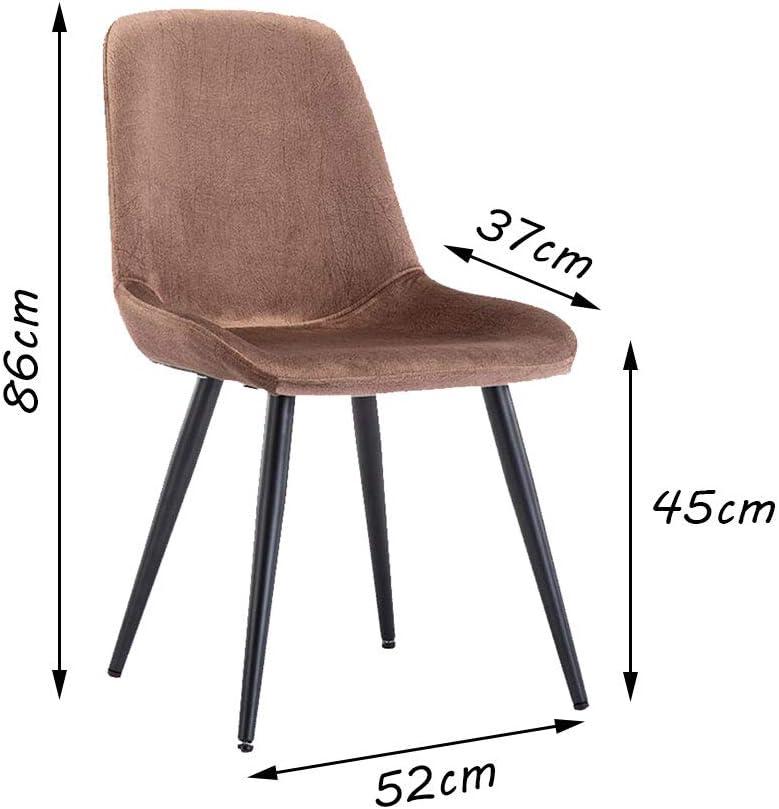 Silla Simple Silla de Comedor, Tela de Cuero Resistente al Desgaste, Respaldo Curvo Suave y cómodo, Comedor - El Color Puede ser multiseleccionado (52 × 45 × 86 cm) Brown
