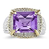 Smjewels 7.60 Ct Emerald Cut Purple Amethyst And Sim. Diamond Ring In 14K Two-Tone Plated