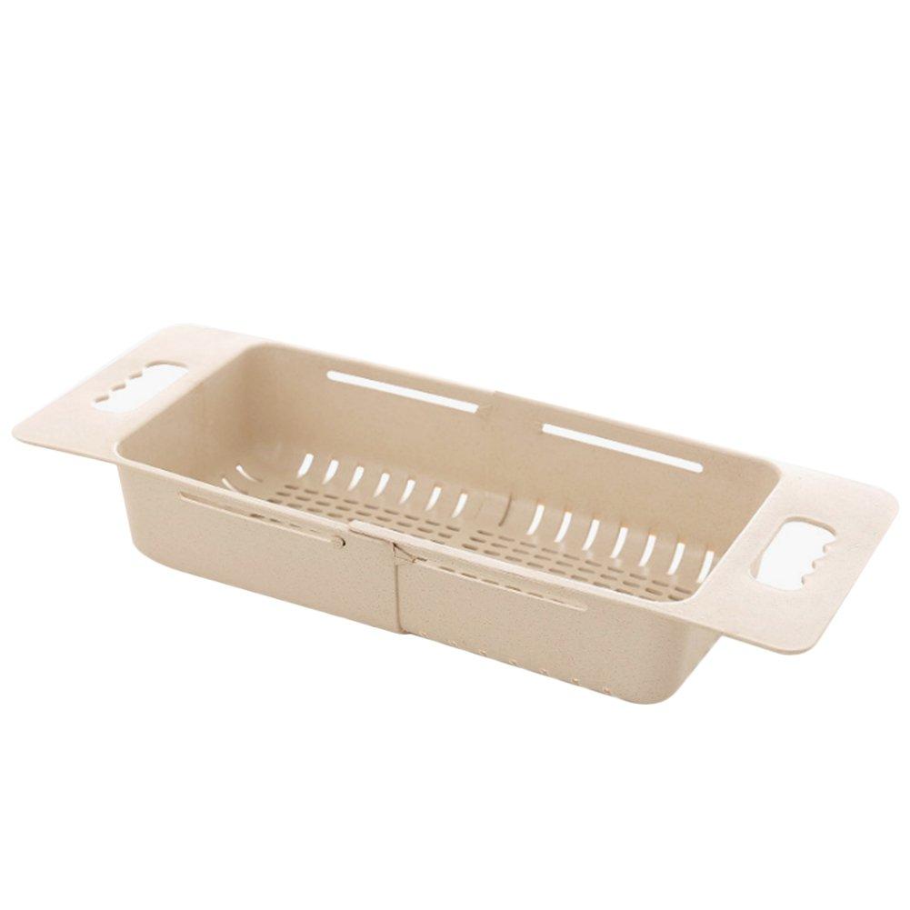 JINBEST Fruits and Vegetables Draining Rack Multifunctional Telescopic Sink Drain Basket Rack Storage Organizer (Beige)