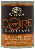 Wellness Grain-Free Canned Dog Food for Adult Dogs, CORE Turkey/Chicken Liver/Turkey Liver Recipe, 12-Pack of 12-1/2-Ounce Cans, My Pet Supplies
