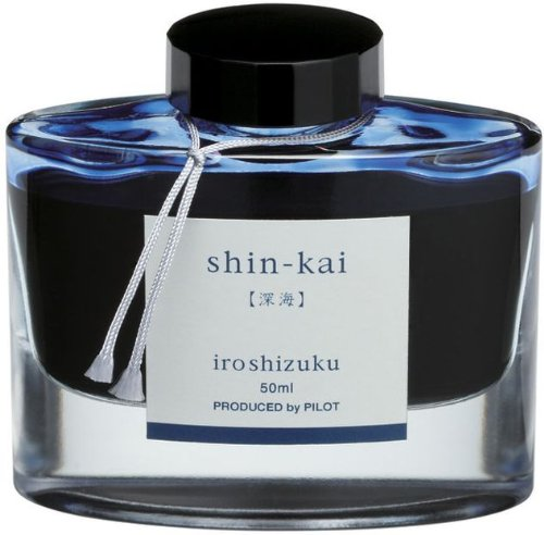PILOT Iroshizuku Bottled Fountain Pen Ink, Shin-Kai, Deep Sea (Blue Black) 50ml Bottle (69225)