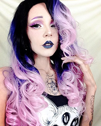 Price comparison product image Heahair Cosplay Rainbow Ombre Color Synthetic Lace Front Wigs Body Wave Heat Resistant Glueless Front Lace Wigs For Women Makeup No Color Fading Hs0009