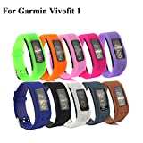 Cute Silicone Replacement Watchband Style 10-in-1 Wristband Bracelets Bundle/ Wireless Fitness Activity Tracker Accessories Silicon Wrist Band Straps with Watch Buckle for Garmin Vivofit 1, One Size