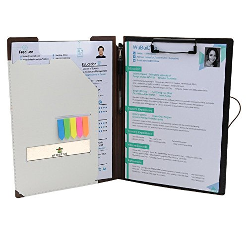 Clipboard Folder File Padfolio Clipboard Storage, Kakbpe Bussiness Letter Size Padfolio with Refillable Notepads, Give a Total of 100 Note Page Markers in Five Colors...