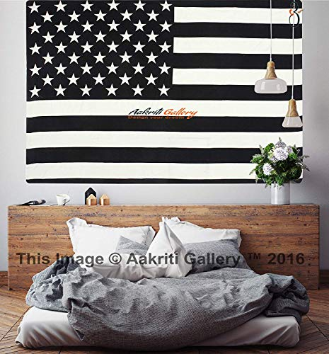 Aakriti Gallery Black and White Twin Tapestry Hippie Wall Hanging Art Decor Single Mandala Tapestry Hippie Dorm 84X55 inches (Flag) by Aakriti Gallery (Image #5)