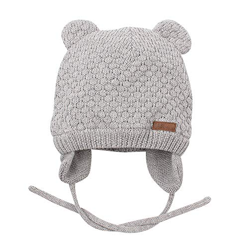- Baby Beanie Hat for Winter with Earfalp Cute Bear Kids Toddler Girls Boys Warm Knit Cap for 0-3Years (Grey, S(0-7Months))