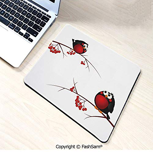 Mouse Pads Cute Kids Themed Cartoon Style Birds on Branches Funny Happy Christmas Design for Home(W9.85xL11.8)