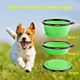 COMSUN 2-Pack Collapsible Dog Bowl, Food Grade Silicone BPA Free, Foldable Expandable Cup Dish for Pet Cat Food Water Feeding Portable Travel Bowl Blue and Green Free Carabiner ¡