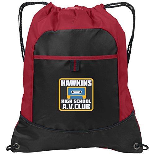 Vintage 80s Cinch - Hawkins High School Backpack Pocket Cinch Pack (Black/True Red)