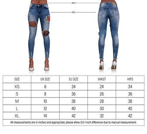 Ripped Vaqueros LustyChic para Open mujer Jeans Blue O0Xqzw