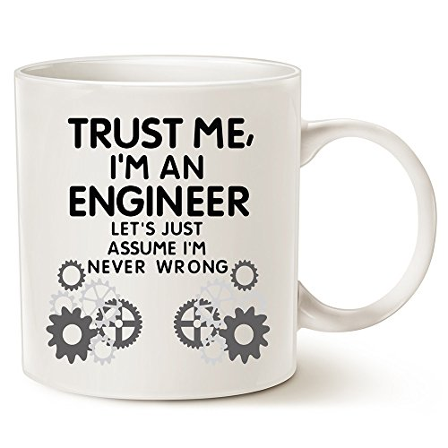 Cute Halloween Gift Ideas For Boyfriend (MAUAG Funny Engineer Coffee Mug - Unique Christmas Gifts Idea - Trust Me, I'm an Engineer - Classic Ceramic Cup White, 14 Oz by LaTazas)