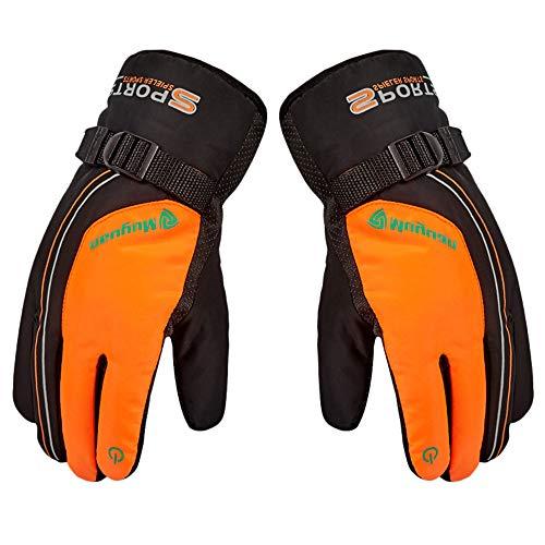 MALLOOM Winter Gloves Men Women Cold Weather Waterproof Windproof Thermal Velvet Ski Snow Gloves Cycling Running Outdoor (Orange)