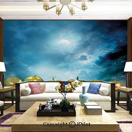 Lionpapa_mural Wall Mural Showing All They Beauty Extremely Detailed Image, Spooky Halloween Pumpkins on Wood Table Dramatic Night Sky Print Decorative,Home Decor - 100x144 inches]()