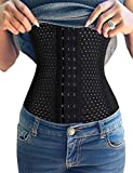 Youloveit Women's Waist Trainer Corset for Weight Loss Steel Boned Tummy Control Body Shaper with Adjustable Hooks(Black,2XL)