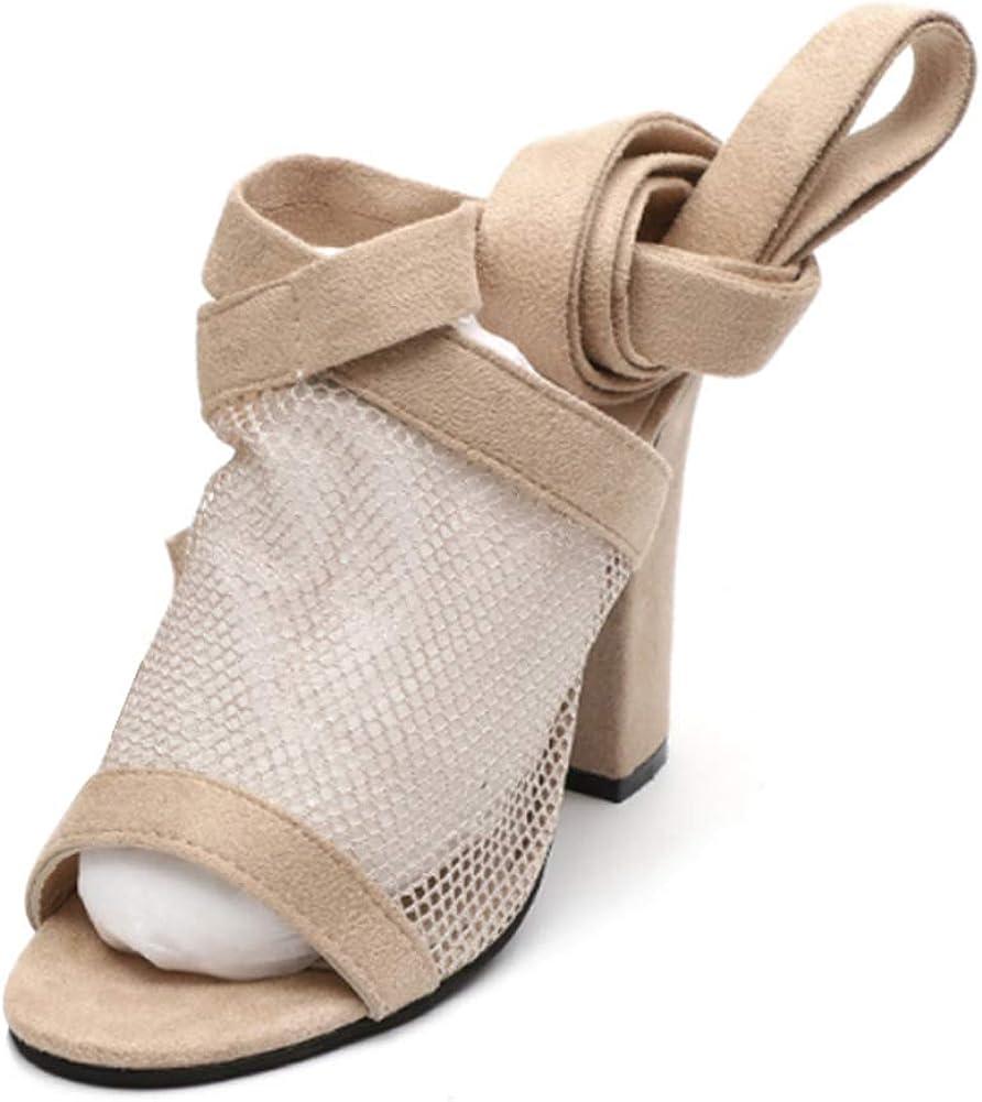 Gtagain Cuir Lacées Bout Ouvert Chaussures Sandales Femme