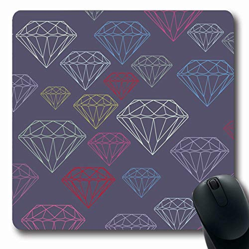 Ahawoso Mousepads for Computers Canvas Blue Amethyst Faceted Gems On Face Abstract Pink Big Crystal Curve Design Gem Oblong Shape 7.9 x 9.5 Inches Non-Slip Oblong Gaming Mouse ()