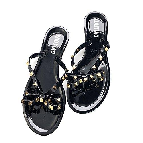 Womens Rivets Bowtie Flip Flops Jelly Thong Sandal Rubber Flat Summer Beach Rain Shoes ()
