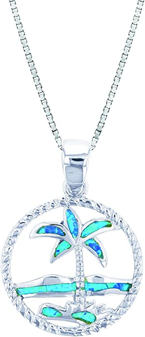 925 Sterling Silver Rhodium Plated Blue Inlay Opal Palm Tree Slide Pendant