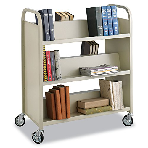 SAF5357SA - Safco Steel Shelf Double-Sided Book Carts, 6-Shelf Cart