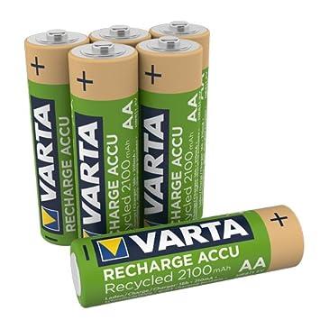 VARTA - 6 Pilas Recargables Recicladas (11%) AA Ni-MH ...