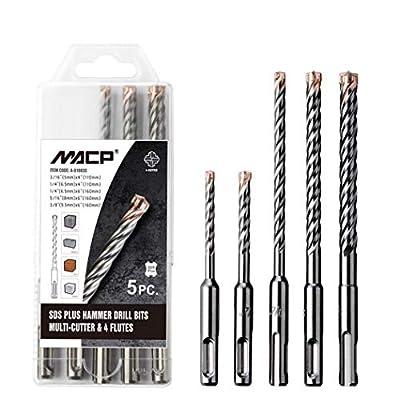 SDS Plus Hammer Drill Bit Set, 5pcs Carbide Rebar Bits for Concrete, Masonry, Brick, Granite