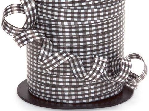 GINGHAM BLACK Curling Ribbon3/8'' x 250 yds 100% Polypropylene (7 unit, 1 pack per unit.)