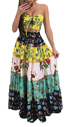Long Skirt Set - Women's Girls Two Pieces Outfits Floral Printing Wrapped Crop Tank Top Shirt + Swing Skirt Set Party Club Boho Dress L