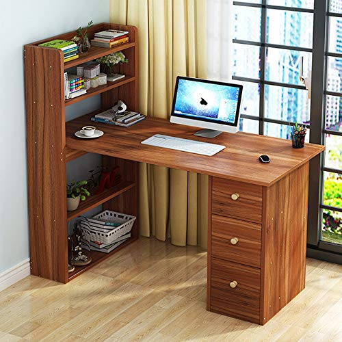 (Hicy L-Shaped Desk with Cabinet Storage, Office Writing Desk with Bookcase,Computer Table (Natural) (Walnut))