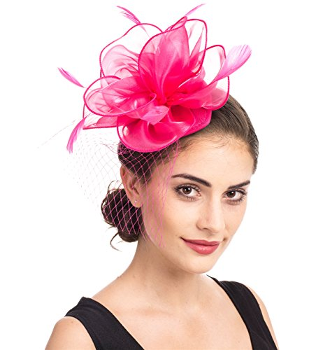 SAFERIN Fascinators Hat Foral Mesh Feathers on a Headband and a Clip Cocktail Kentucky Derby Wedding Tea Party Headwear for Girls and Women (TA2-Floral Mesh Fuchsia)