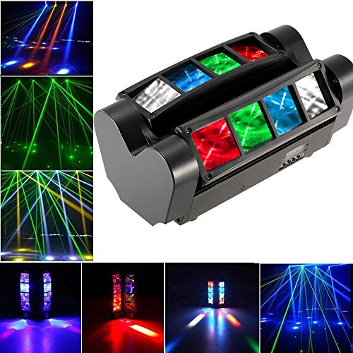 Galapara 90W RGBW Stage Light 7/13 Channels LED DMX512 Sound Activated Auto Running Mini Spider Stage Beam Light Head Moving Rotatable Effect Lamp with Signal Line for Disco KTV Club Party ()