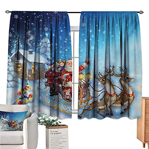 Christmas Kitchen Curtain Santa in Sleigh with Reindeer and Toys in Snowy North Pole Tale Fantasy Image Navy Blue Drapes Panels W63 x L72