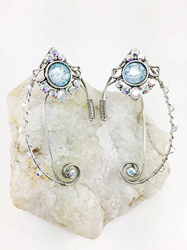 Elven Ear Cuffs Frosted Winter Snow Ear Cuffs with Silver Wire with Beads and Gems, Fairy Ear Cuffs, Cosplay Elf Ear Cuffs, Fantasy Costume Ear Cuffs