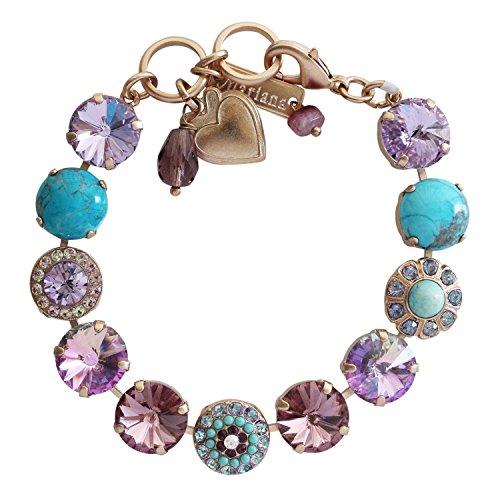 Mariana St. Lucia Rose Goldtone Rivoli Mosaic Crystal Round Floral Large Statement Bracelet, 7.25