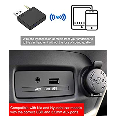 Hyundai Aux Bluetooth Adapter for Car Kia Bluetooth 5.0 Aux Adapter Audio Bluetooth Transmitter Car Stereo Adapter 3.5MM Aux USB Compatible with iPhone iPad Android Smartphone Kia Hyundai Car: Car Electronics