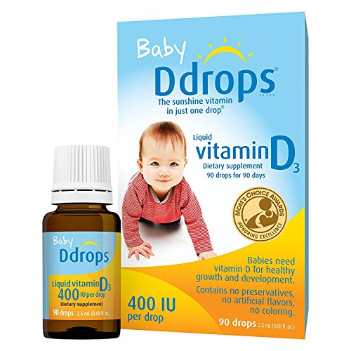 Ddrops Baby 400 IU, Vitamin D, 90 Drops (5 Pack) by