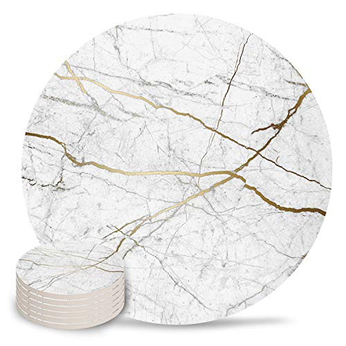 Chic D Gray Gold Absorbent Coaster for Drinks, Funny Stone Coasters Set with Cork Base Backing, No Holder, Set of 6 Suitable for Kinds of Cups and Mugs-Wild Symbol Marble (Bar And Furniture Factory Grill)