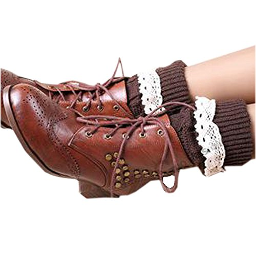 Riccos  Tm  Womens Fashion Winter Kintted Stretchy Warm Short Boot Toppers Leg Warmer Sock With Lace Trima  Brown