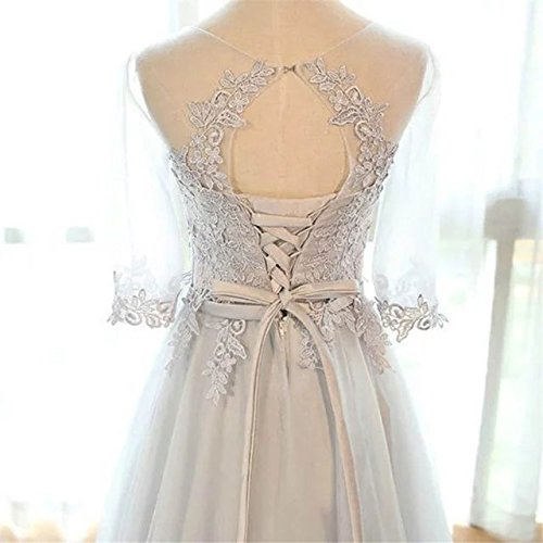 langes Cocktail Ballkleid brautjungfer Linie A Champagne Abendkleid Schnuerung kleid Tuell Damen Party Prinzessin Vickyben T6twUU