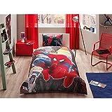 Bekata Spiderman Bedding Set, Boys Duvet Cover Set, 100% Cotton Single/Twin Size, (Duvet Cover, Fitted Sheet, Pillowcase) (3 PCS)