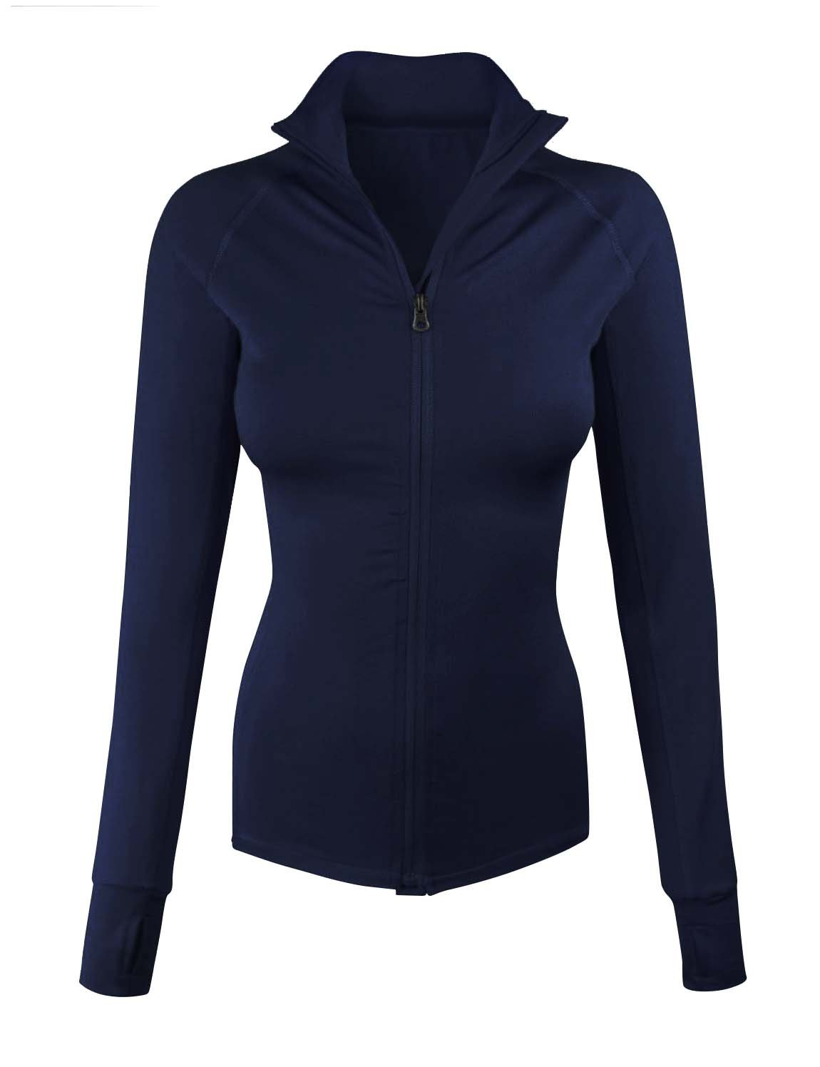 makeitmint Women's Comfy Zip Up Stretchy Work Out Track Jacket w/ Back Pocket SMALL YJZ0002_02NAVY