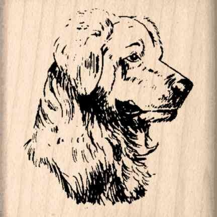 Golden Retriever Rubber Stamp - 1-1/2 inches x 1-1/2 inches