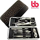 Manicure, Pedicure Kit, Personal Nail Clippers Set of 12, Stainless Steel Manicure Tools Kit with Portable Travel Case, All in One Beauty Care Tools, By Beauty Bon®
