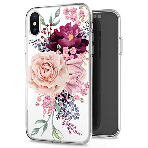 JAHOLAN Pink Rose Flower Cute Girls Floral Design Clear TPU Soft Slim Flexible Silicone Cover Phone Case for iPhone Xs Max 2018 6.5 inch