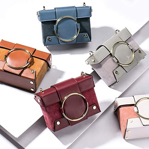 With Messenger Buckle Grijs Haxibkena Women Leather Bag kleur Fashion Grijs Square Ring Matte Magnetic 0qrz7qd
